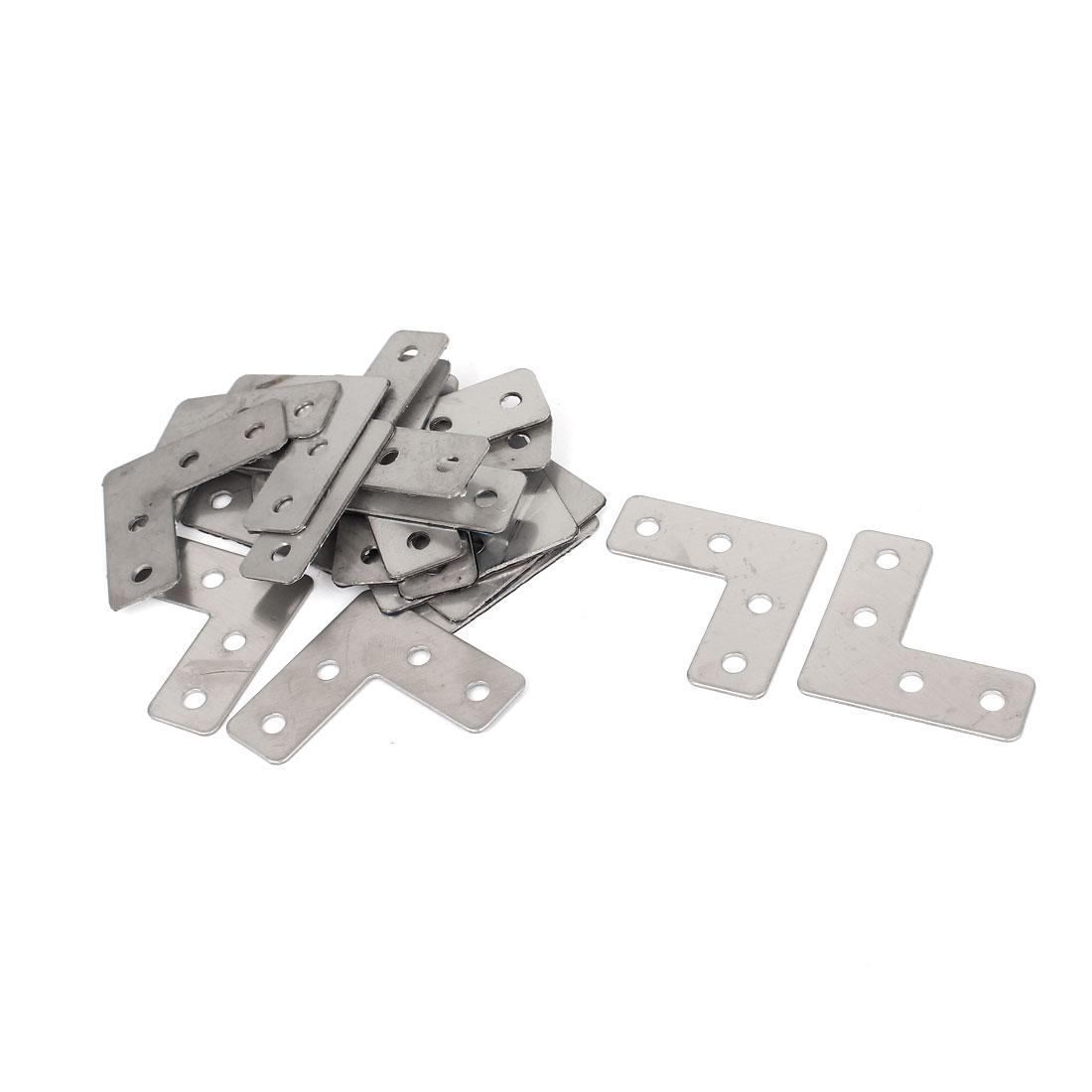 Furniture 40mmx40mm L Shape Right Angle Flat Plate Corner Brace Bracket 20Pcs