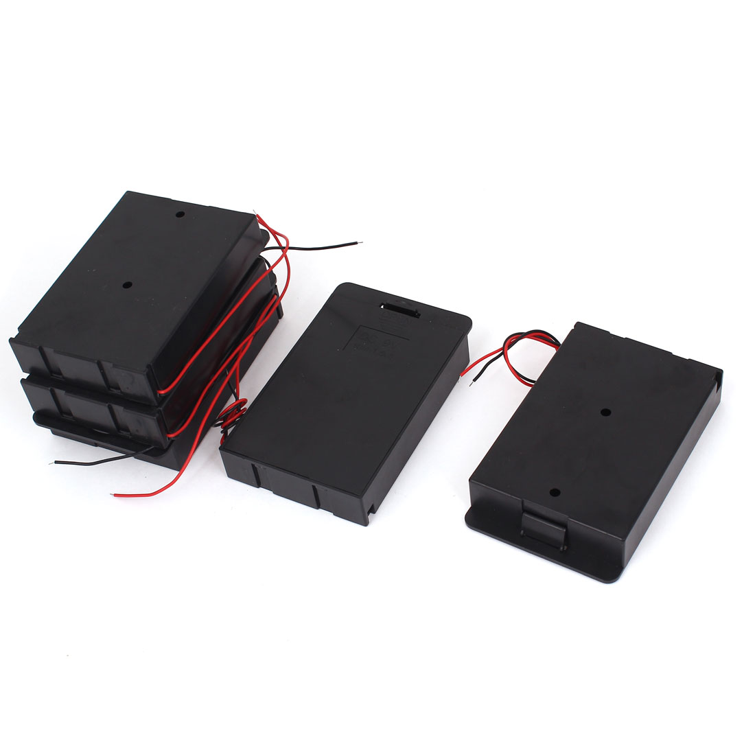 5pcs Plastic Shell 2-Wired 6 x 1.5V AA Battery Case Storage Boxes Holder Black