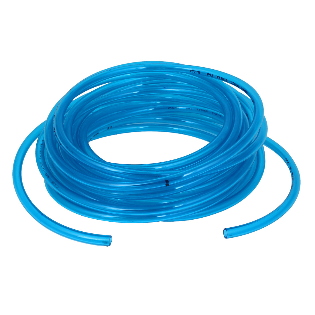 Pneumatic Air Polyurethane Flexible PU Tube Pipe 10mmx6.5mm 12Meter Clear Blue