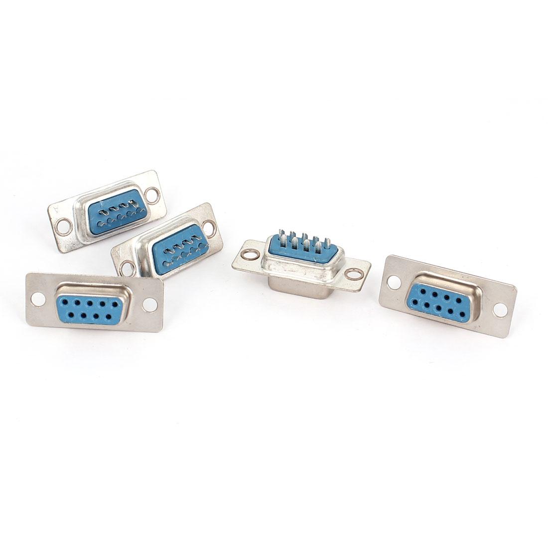 5pcs RS232 DB9 9 Pin Female Port DIP Mount VGA Socket Connector Adapter