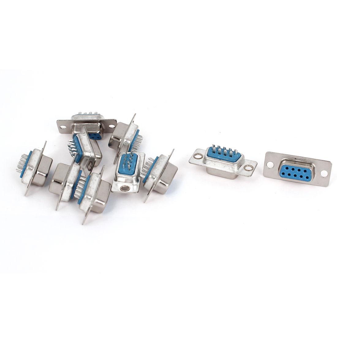 10pcs RS232 DB9 9 Pin Female Port DIP Mount VGA Socket Connector Adapter
