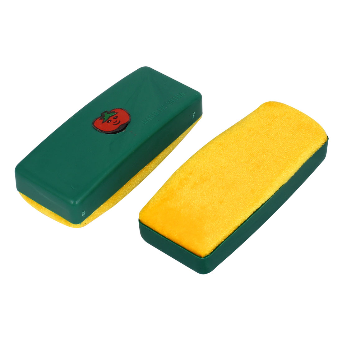 2pcs Plastic Shell Whiteboard Blackboard Cleaner Dry Marker Eraser Yellow Green