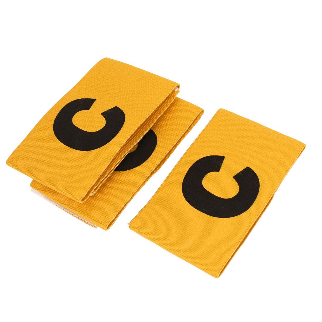 3pcs Letter C Pattern Soccer Football Tension Elastic Captain Armband Yellow