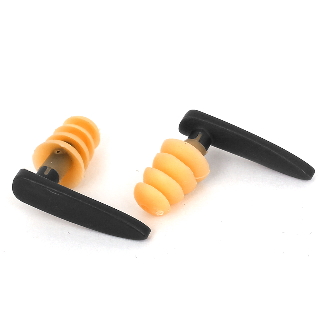 Mushroom Design Travel Swim Swimming Guard Earplugs Orange Gray Pair w Case