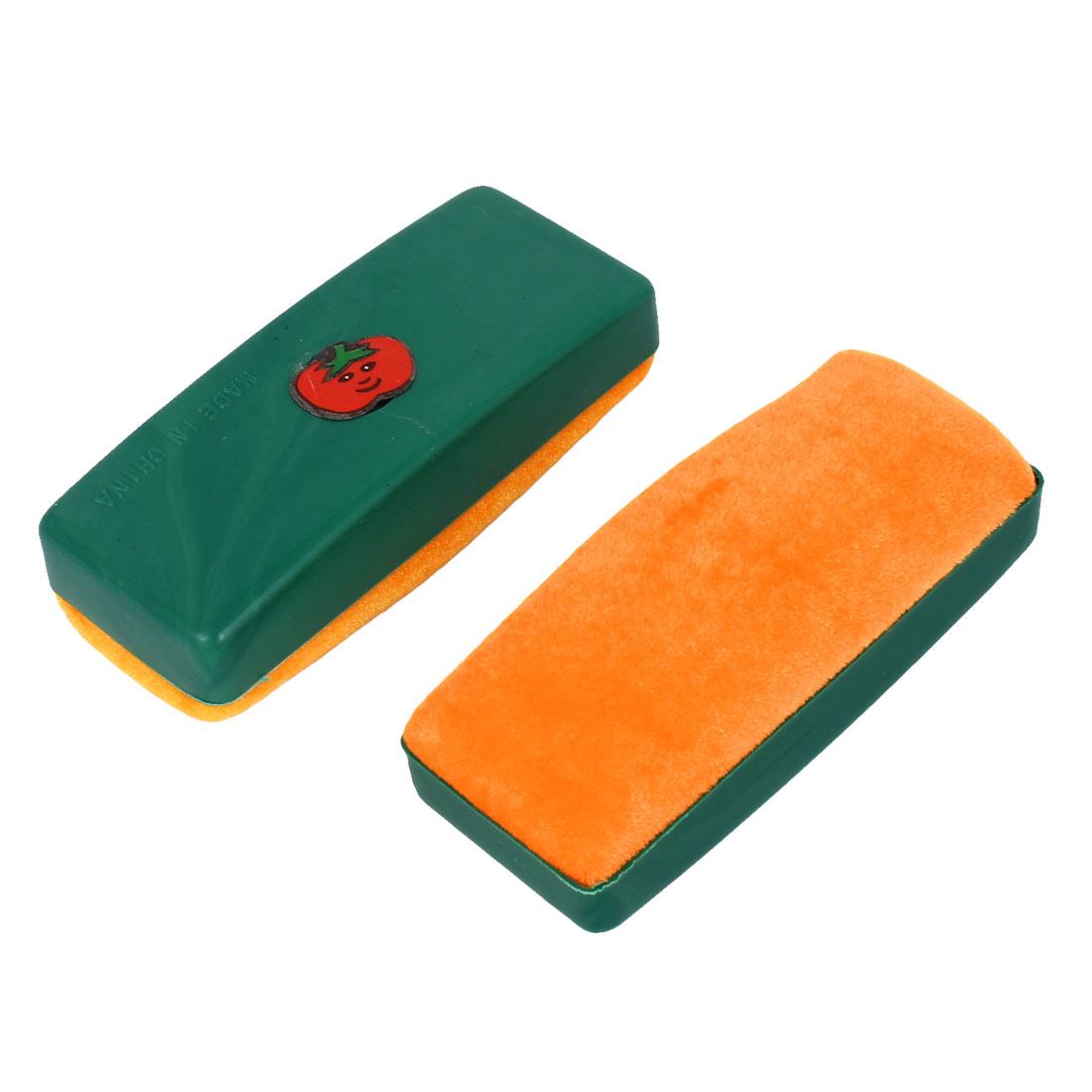 2pcs Plastic Shell Whiteboard Blackboard Cleaner Dry Marker Eraser Orange Green