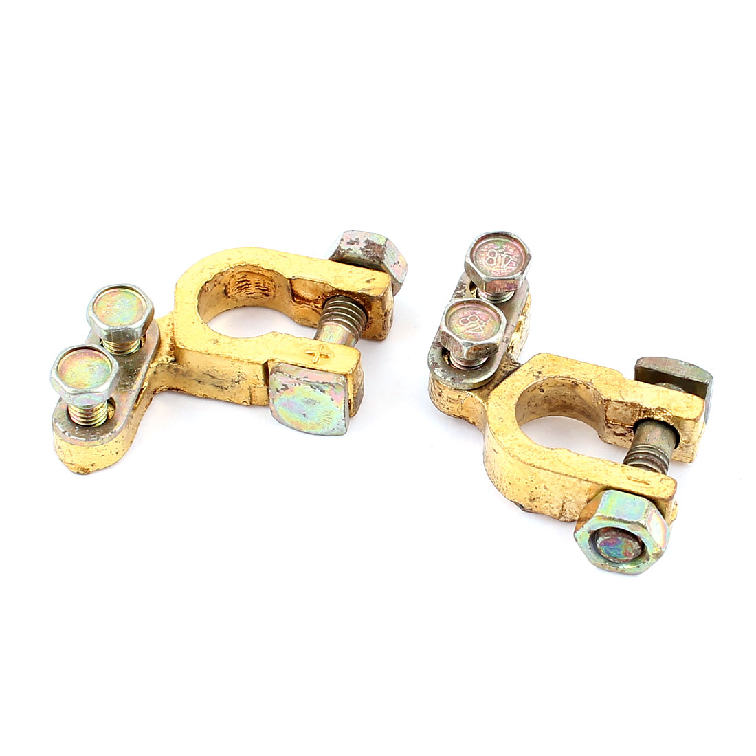 2pcs Car Truck 6V-12V Angle Type Battery Terminals Positive Negative Clamps