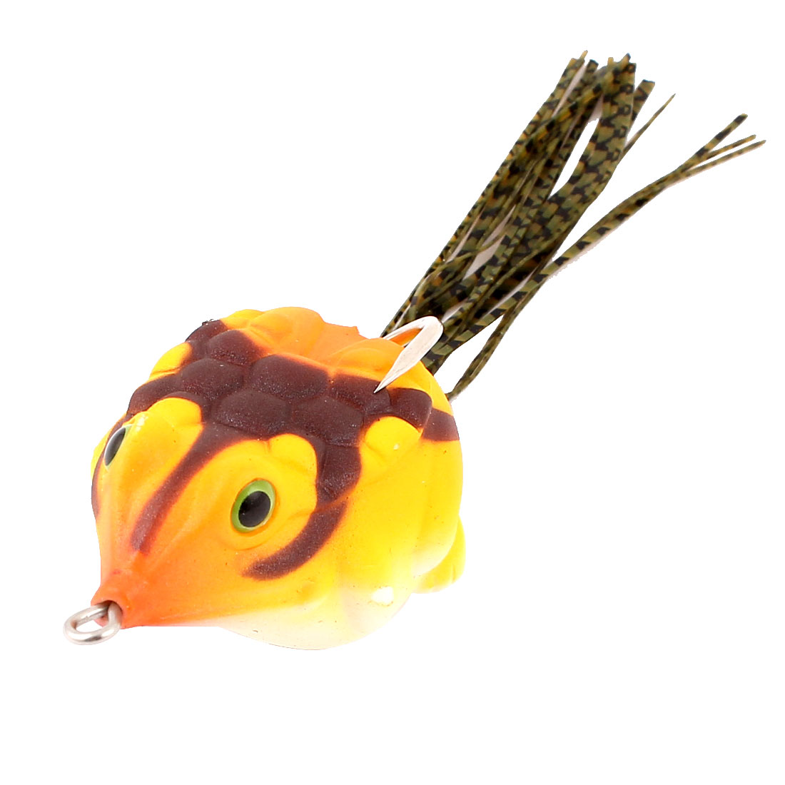 Orange Brown Rubber Simulation Frog Design Fishing Angling Hooks Bait Lure
