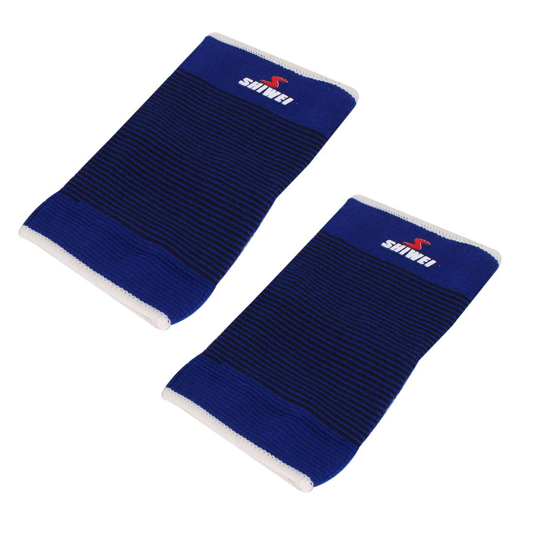 Pair Blue Black Striped Elastic Sleeve Leg Thigh Protector Support Brace Guard