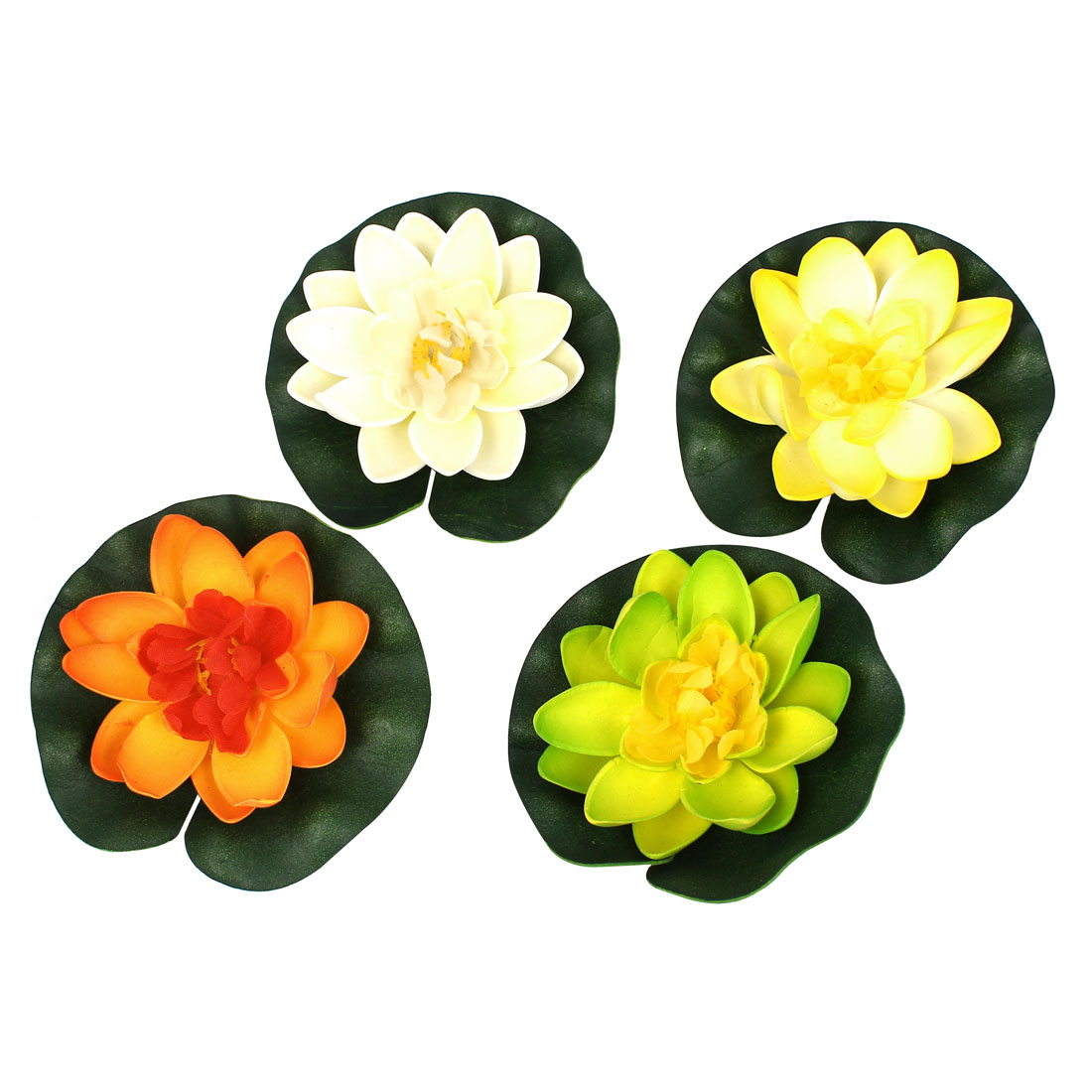 4pcs Aquarium Decor Artificial Aquatic Foam Float Lotus Flower Plants Multicolor