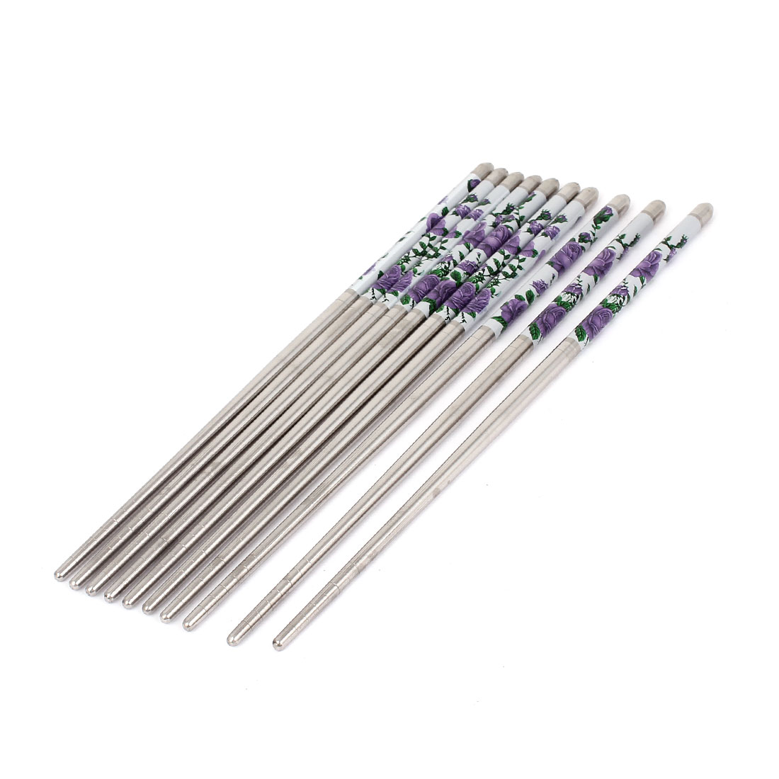Kitchen Tableware Flower Pattern Stainless Steel Chopsticks 22.5cm Long 5 Pairs
