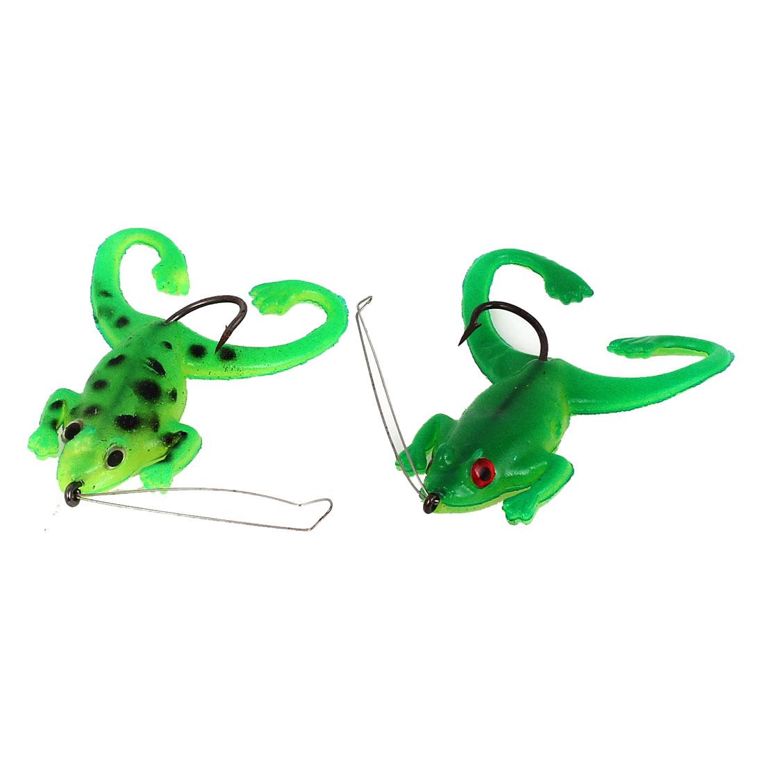 2pcs Green Black Silicone Simulation Frog Design Fishing Angling Hooks Bait Lure