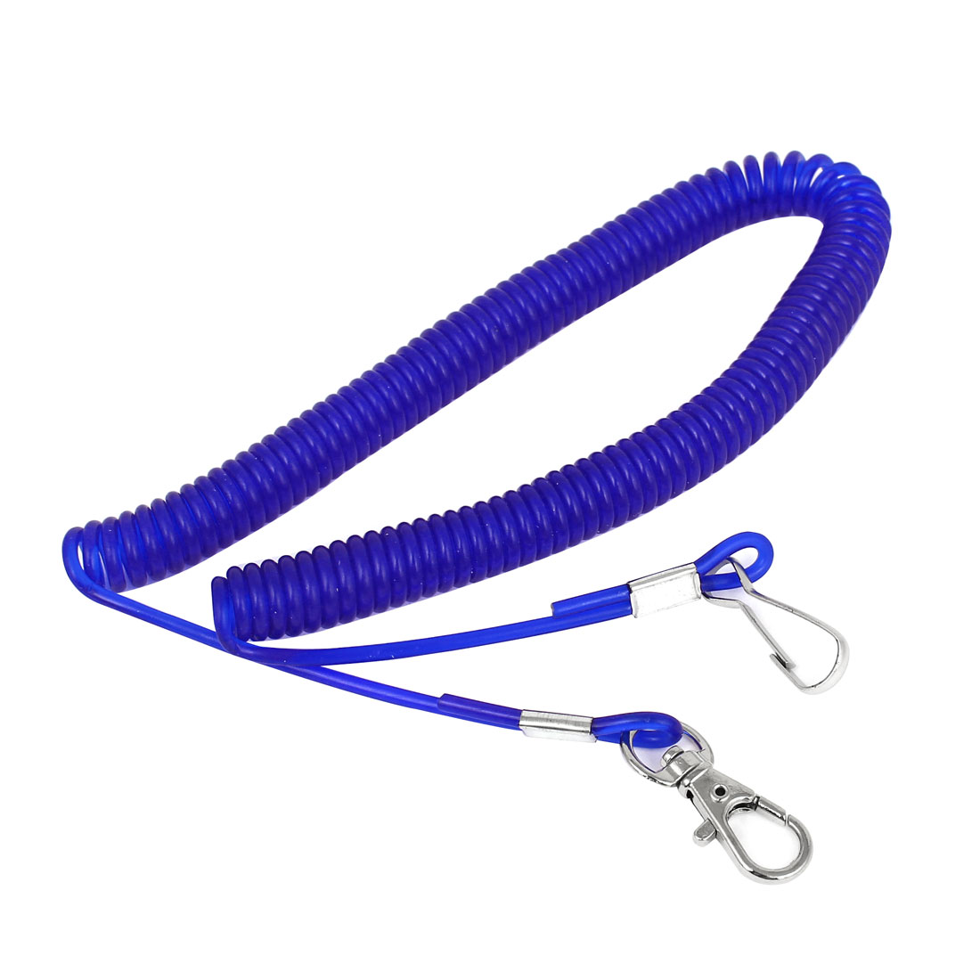 Fishing Rod Safety Lobster Clasp Stretchy Coiled Lanyard Rope Cord Blue 3Meter 10Ft