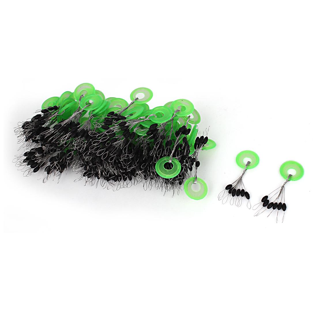 100Pcs Plastic Round Ring Oval Float Fishing Bobber Stopper Green Black