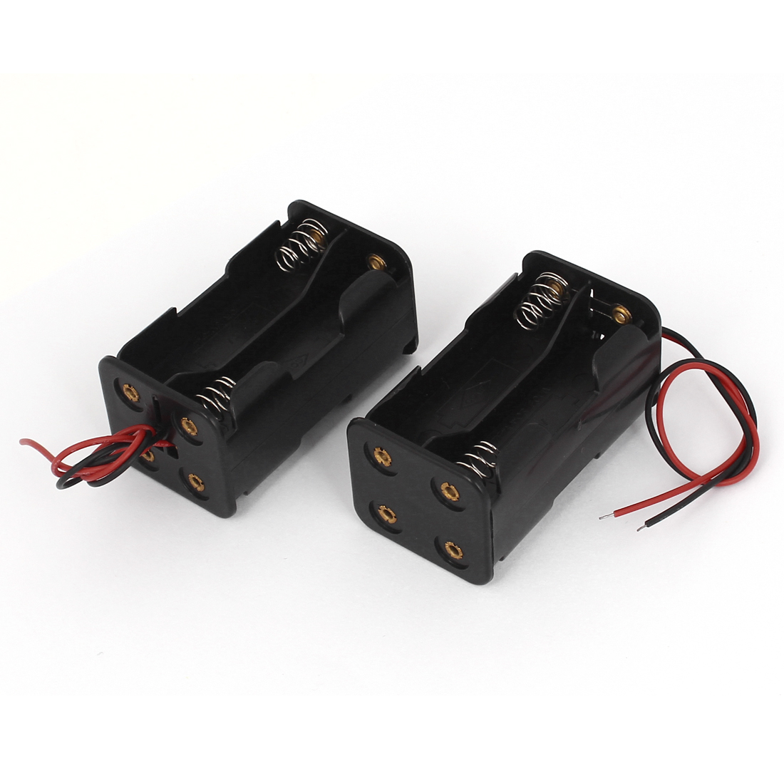 2pcs Plastic Double Sides 2-Wired 4 x 1.5V AA Battery Case Storage Boxes Holder