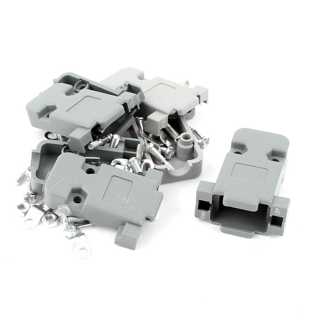 Gray Plastic DB9 9 Pins D-SUB Female Connector Hood Cover Protection Cap 4pcs