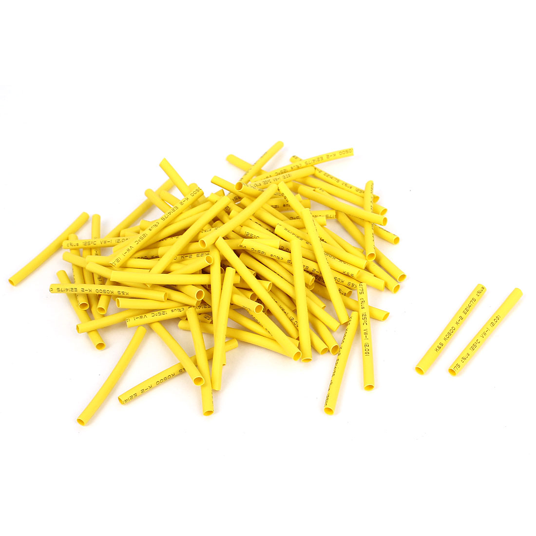 100pcs Yellow 2mm Dia 2:1 Polyolefin Heat Shrink Tubing Shrinkable Tube 40mm