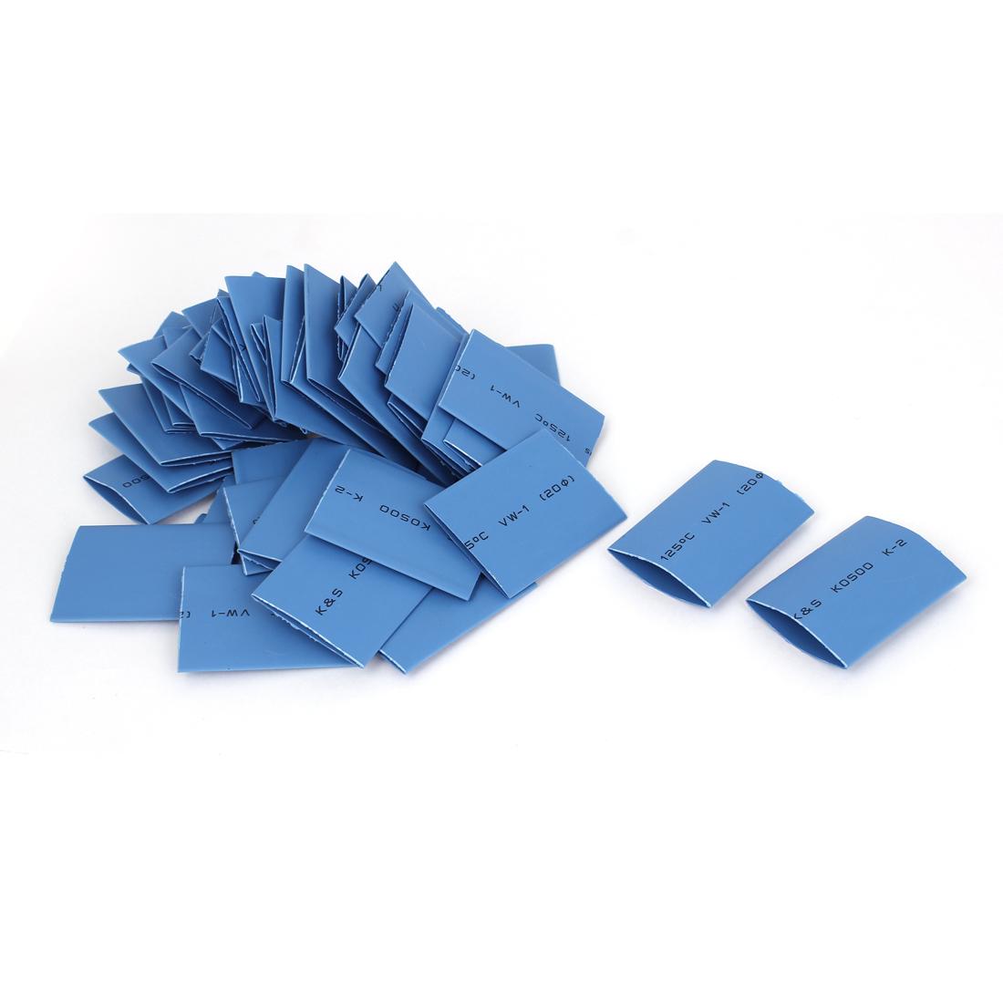 50pcs Blue 20mm Dia 2:1 Polyolefin Heat Shrink Tubing Shrinkable Tube 45mm