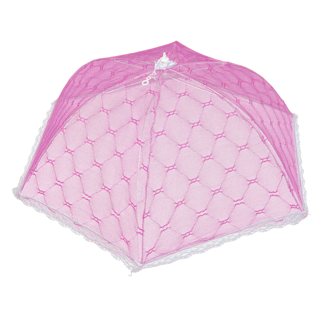 Household Kitchen Picnic Party Metal Frame Nylon Netty Umbrella Shaped Foldable Food Cover Pink