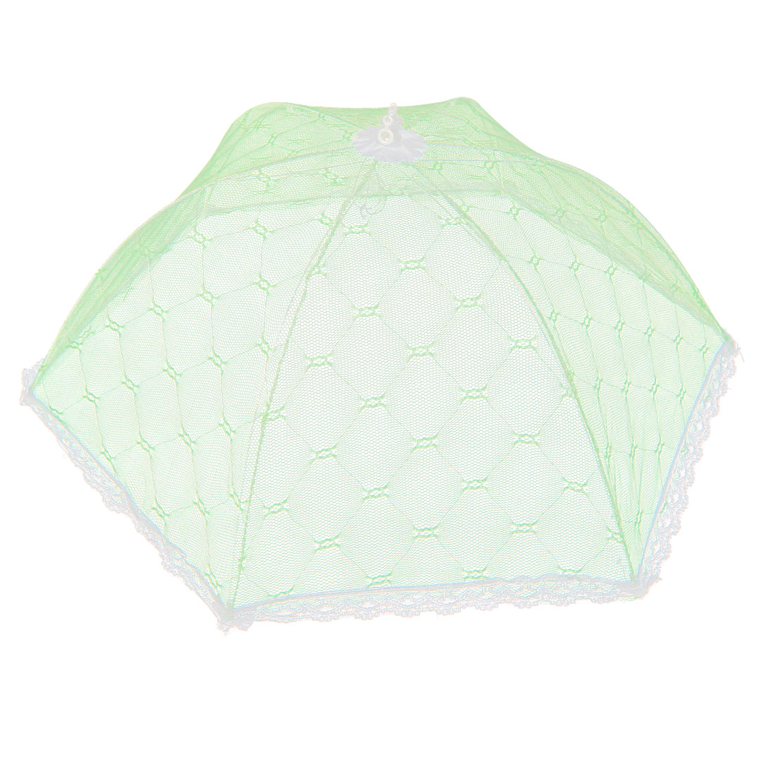 Household Kitchen Picnic Party Metal Frame Nylon Netty Umbrella Shaped Foldable Food Cover Light Green