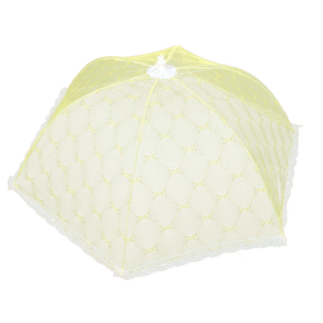 Household Kitchen Picnic Party Metal Frame Nylon Netty Umbrella Shaped Foldable Food Cover Yellow