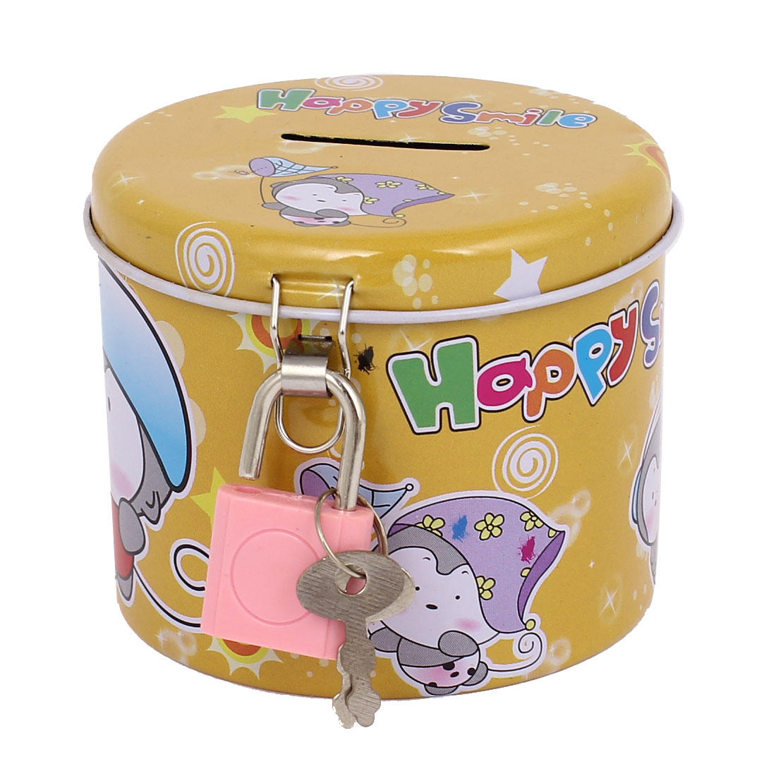 Round Design Cartoon Animal Printed Metal Piggy Bank Money Saving Box Yellow w Padlock