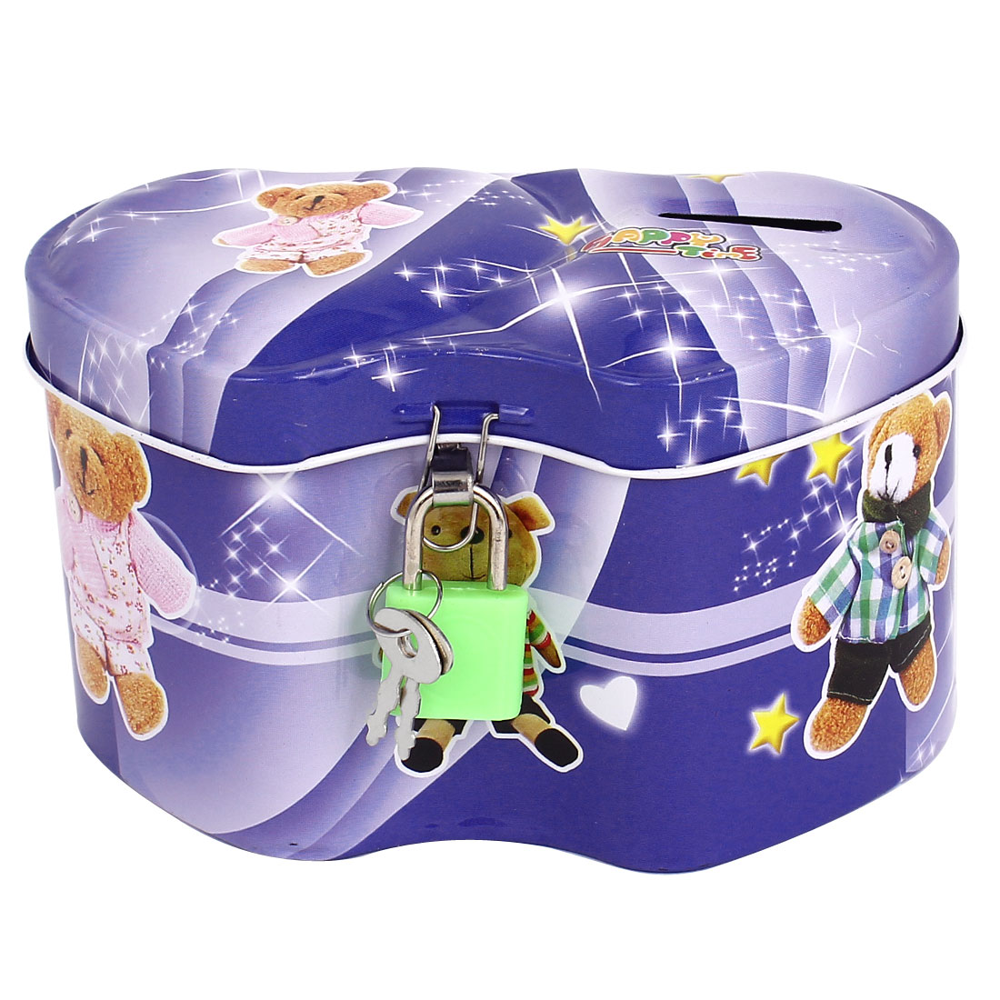 Household Children Cartoon Animal Printed Metal Two Hearts Designed Piggy Bank Money Saving Box Blue w Padlock