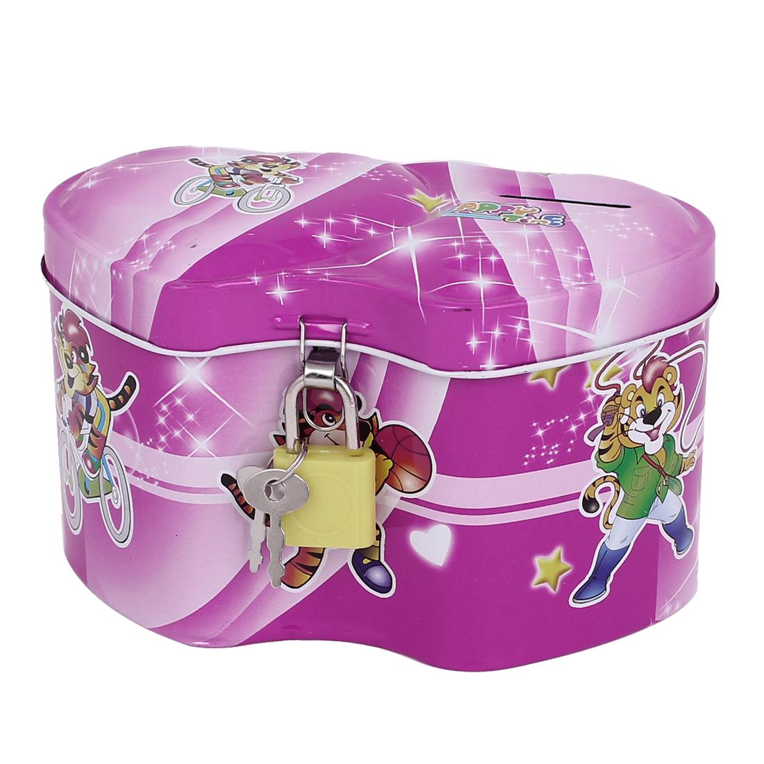 Household Children Cartoon Animal Printed Metal Two Hearts Designed Piggy Bank Money Saving Box Pink w Padlock