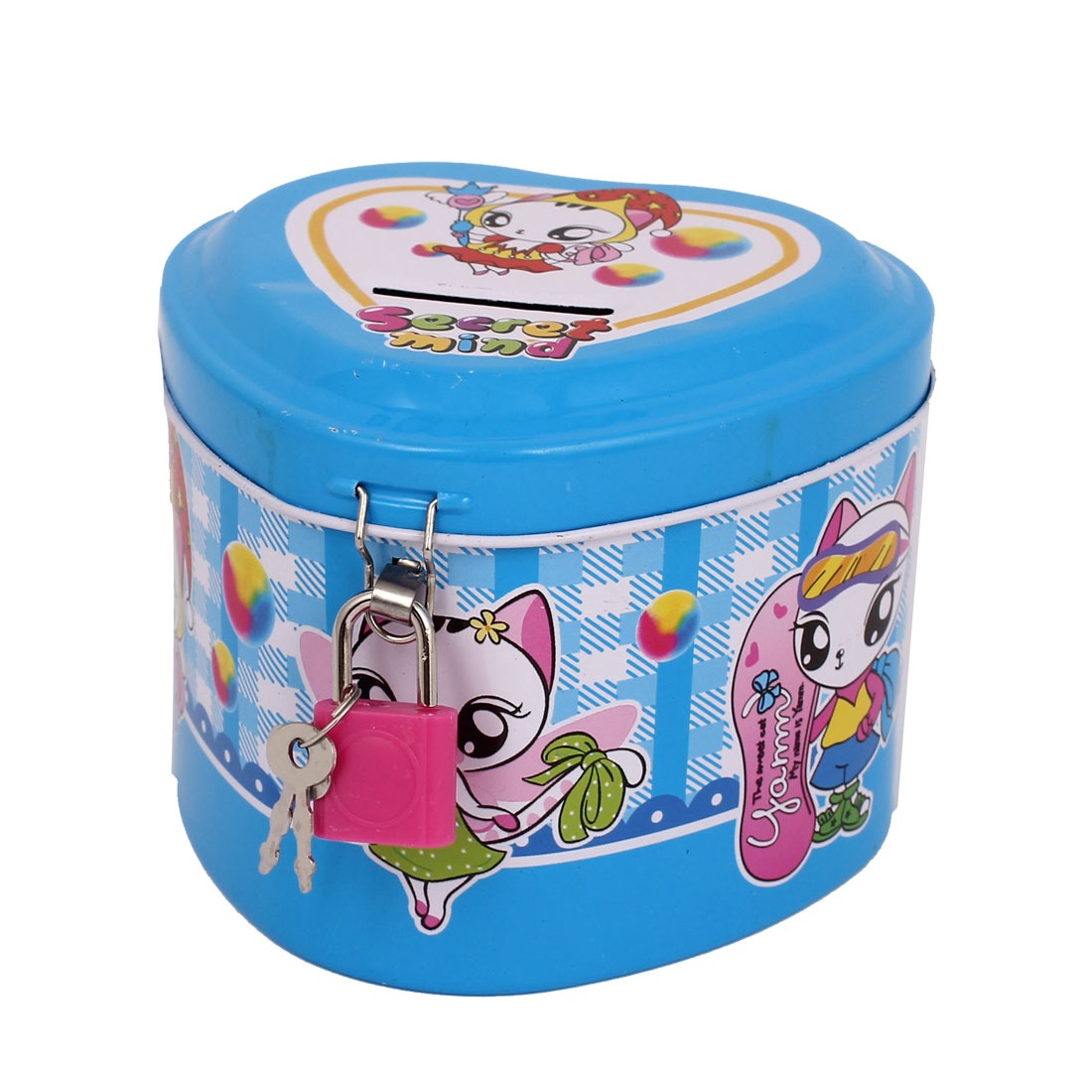 Cartoon Animal Printed Heart Shaped Metal Piggy Bank Money Saving Box Blue w Padlock