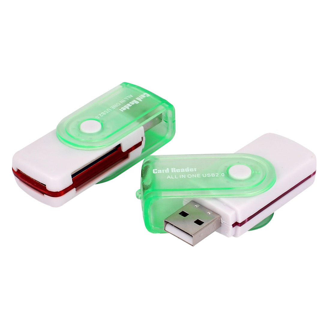 2 Pcs Light Green USB 2.0 All in One Portable Rotation Aluminium Memory Card Reader Adapter Micro SD