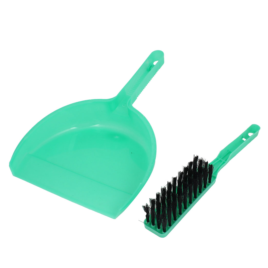 2 in 1 Plastic Nonslip Handle Mini Pet Whisk Brush Broom Dustpan Green Clean Set