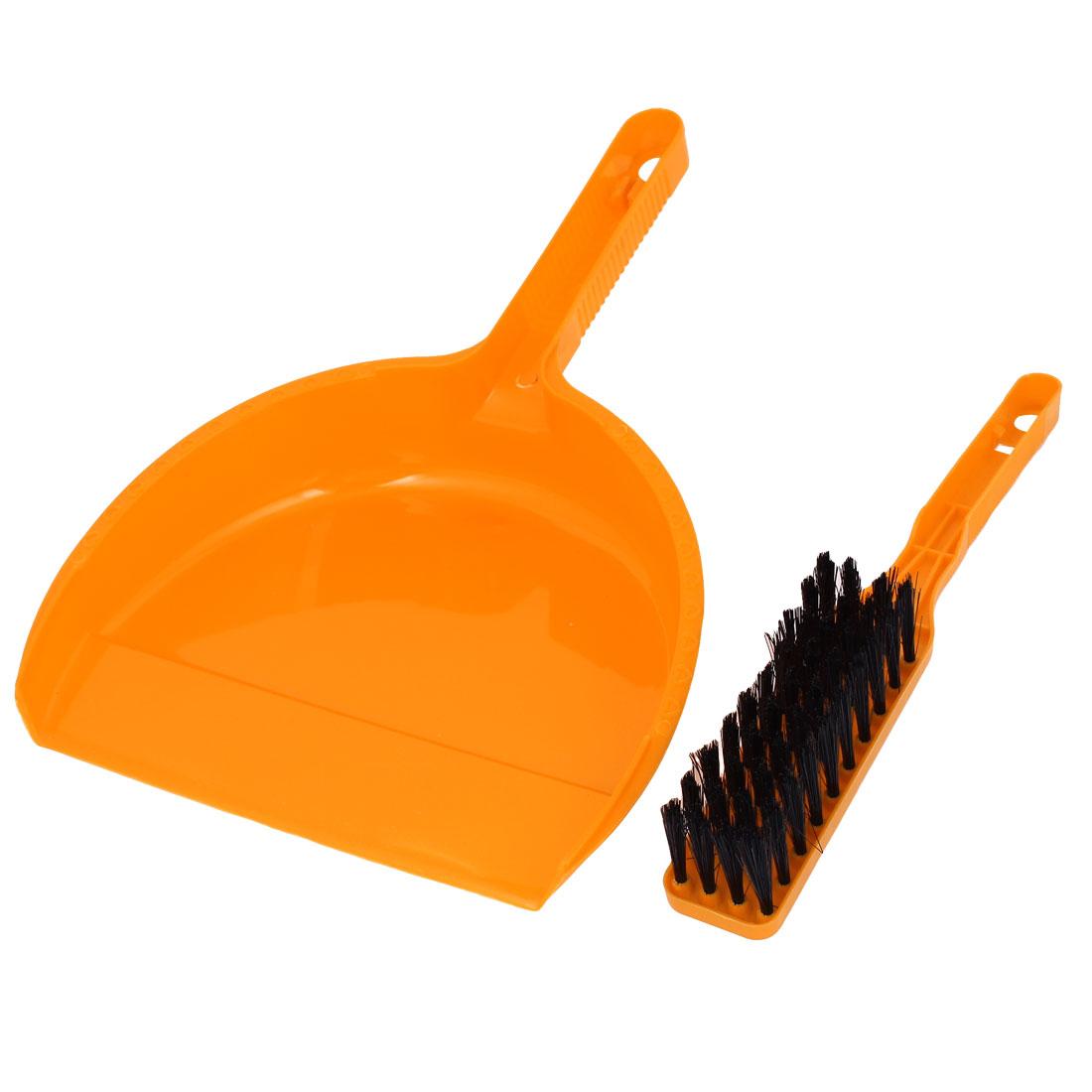 2 in 1 Plastic Nonslip Handle Mini Pet Whisk Brush Broom Dustpan Orange Clean Set