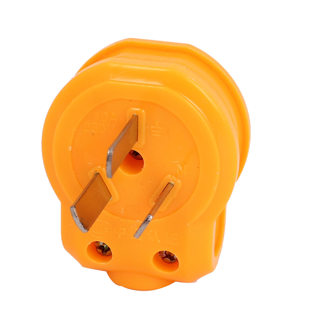 Orange Plastic Housing Earth Grounded 3 Flat Pin AU Plug Power Connector AC 250V 10A