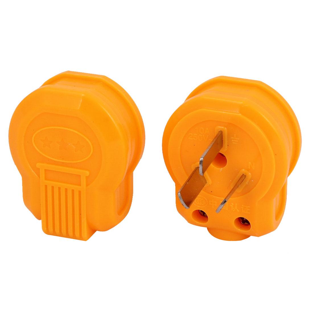 2 Pcs Orange Plastic Housing 3 Flat Pin AU Plug Power Connector AC 250V 10A