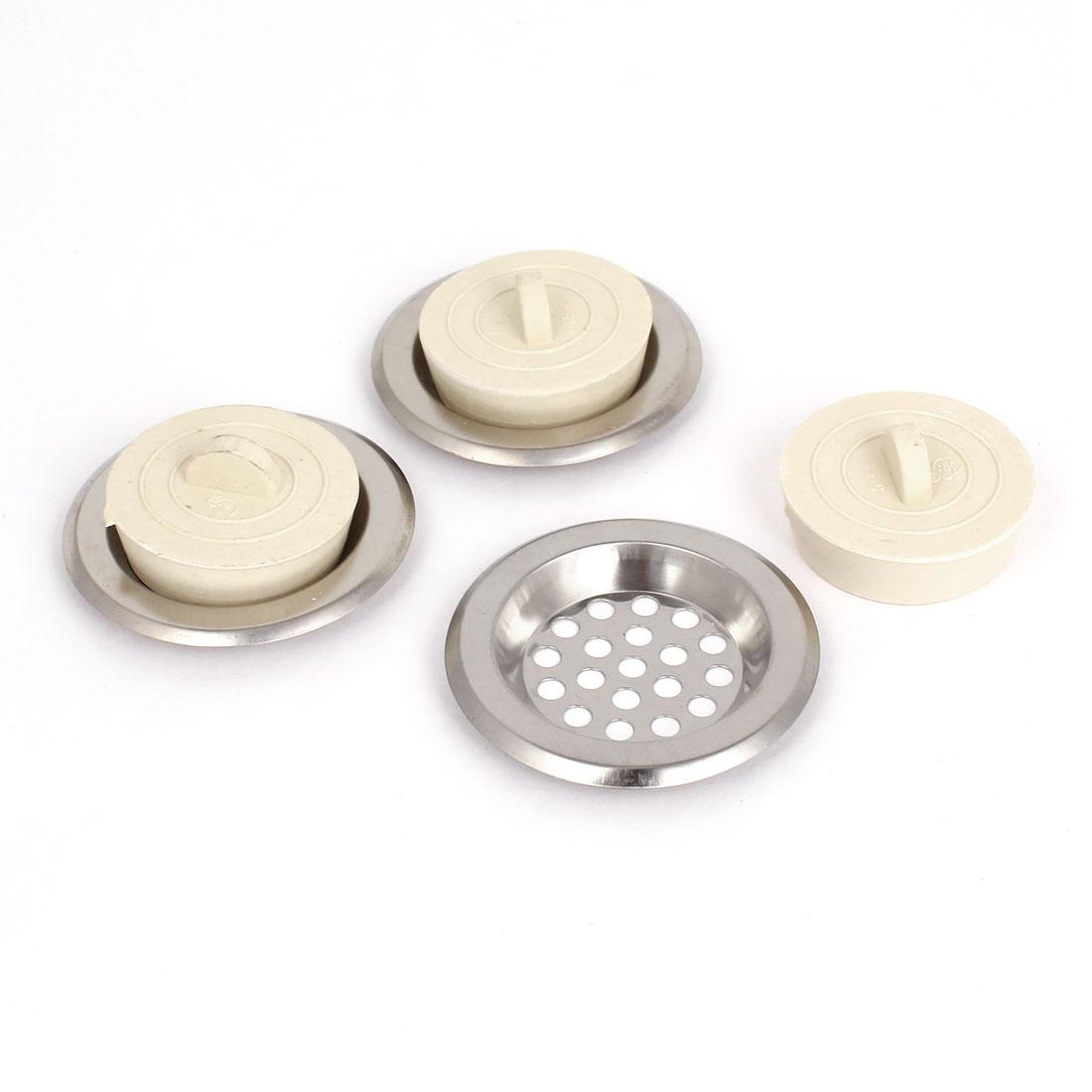 3 Pcs Stainless Steel Sink Strainers for Kitchen Sink Prevents Clogs Off White Stopper Disposal 6cm Diameter