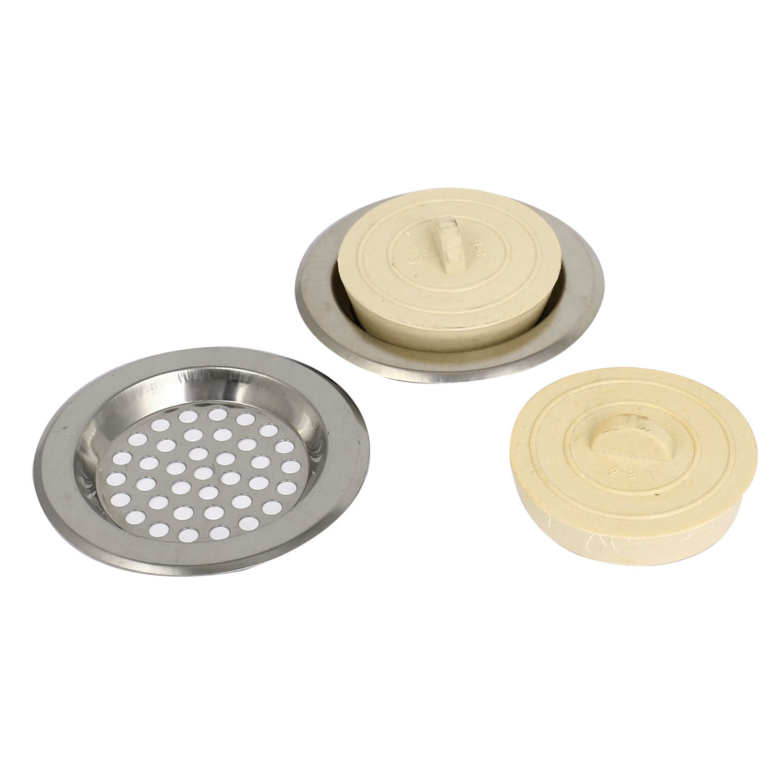 2 Pcs Stainless Steel Kitchen Sink Strainers Prevents Clogs Off White Stopper Disposal 75mm Diameter