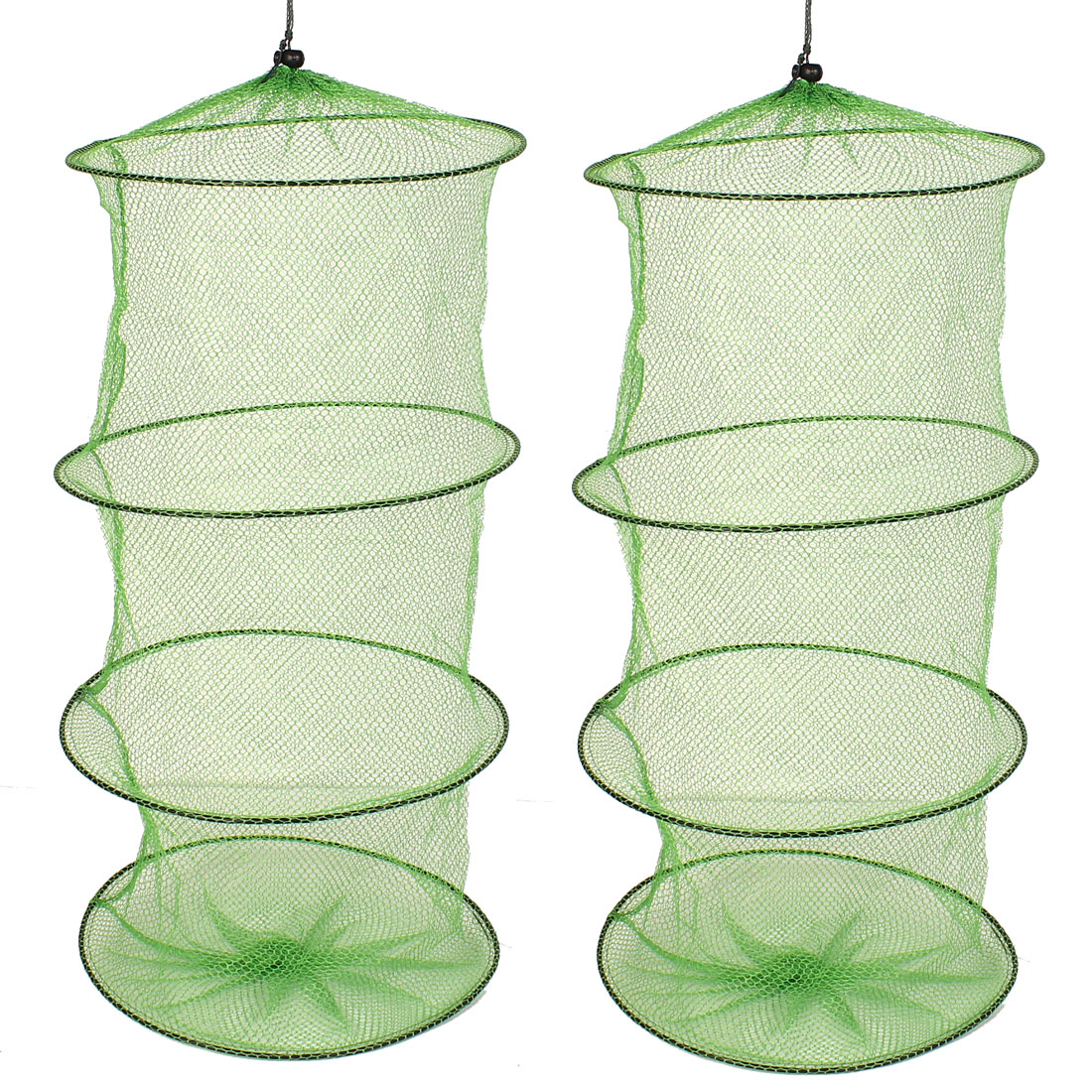 2 Pcs 26 Inch Green Crab Crawfish Lobster Folding Collapsible Outdoor Camping Fishing Cage Fishing Net