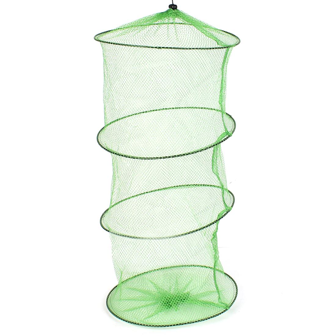 26 Inch Green Crab Crawfish Shrimp Collapsible Outdoor Camping Nylon Fishing Cage Fishing Net