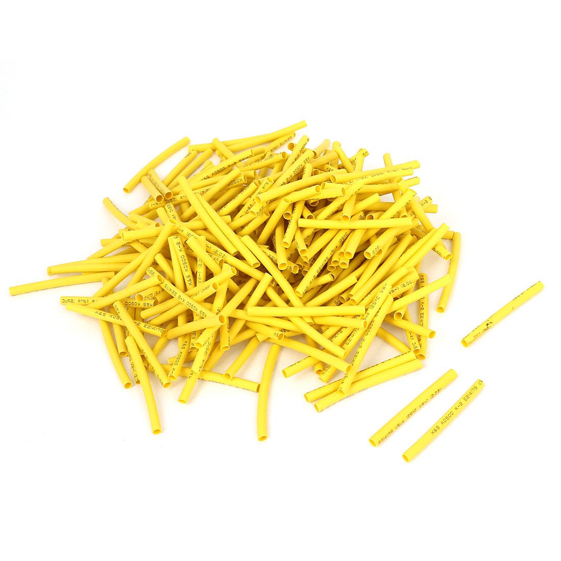 200pcs Yellow 2mm Dia 2:1 Polyolefin Heat Shrink Tubing Shrinkable Tube 40mm