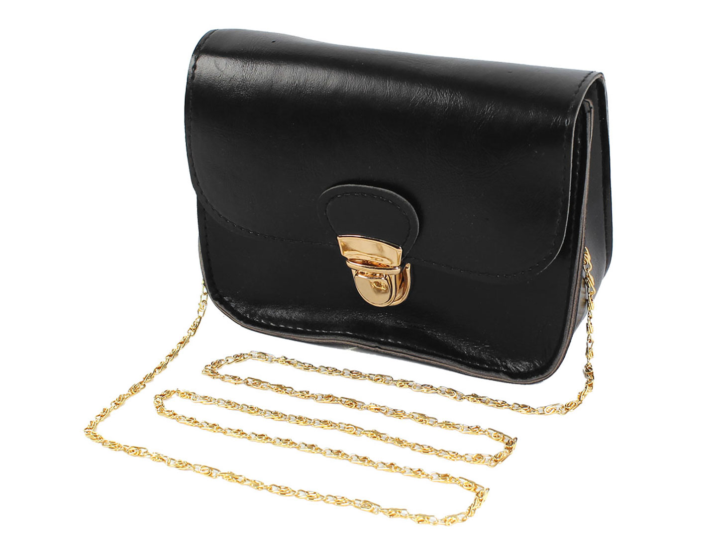 Women New Mini Cute Hasp Chain Crossbody Shoulder Messenger Bag Black