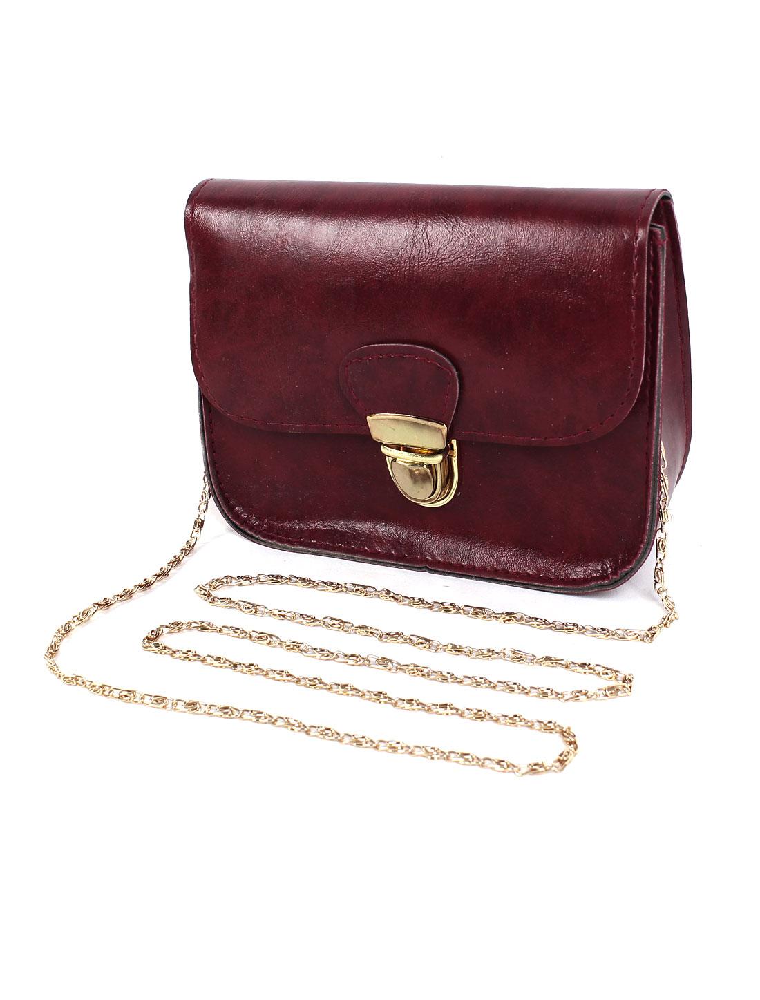 Women New Mini Cute Hasp Chain Shoulder Crossbody Messenger Bag Burgundy