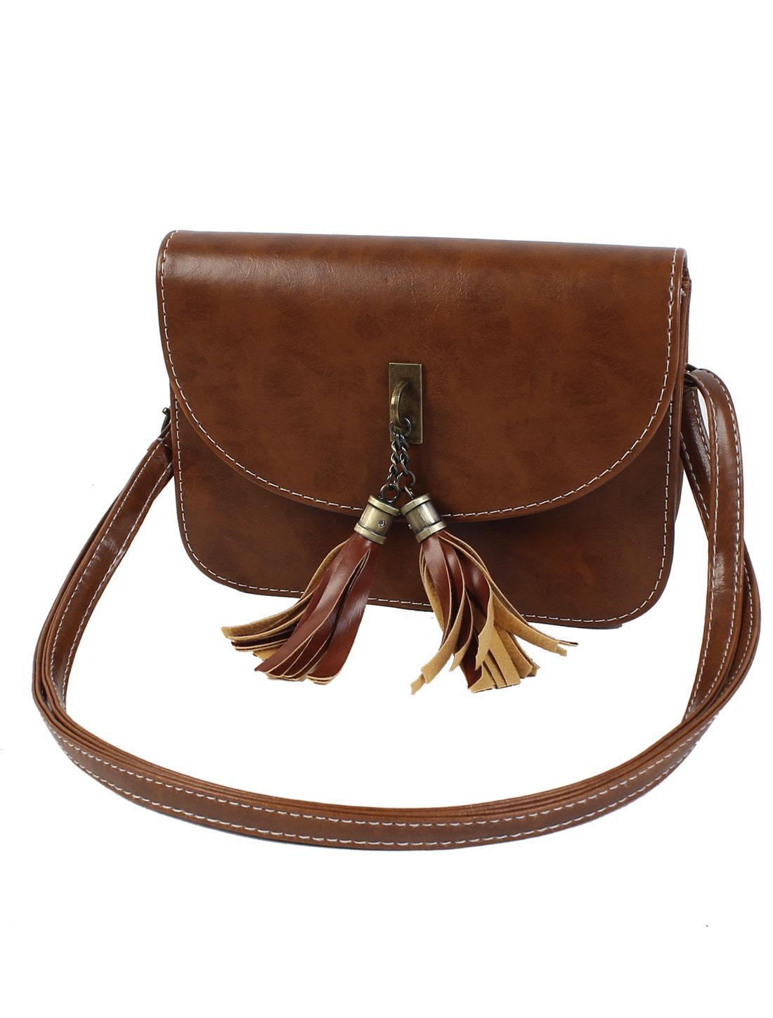 Women Tassel PU Leather Handbag Tote Purse Hobo Messenger Shoulder Bag Brown