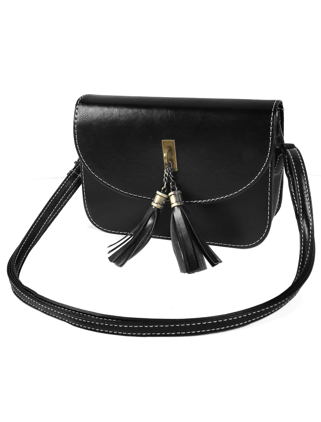 Women Tassel PU Leather Handbag Tote Purse Hobo Messenger Shoulder Bag Black