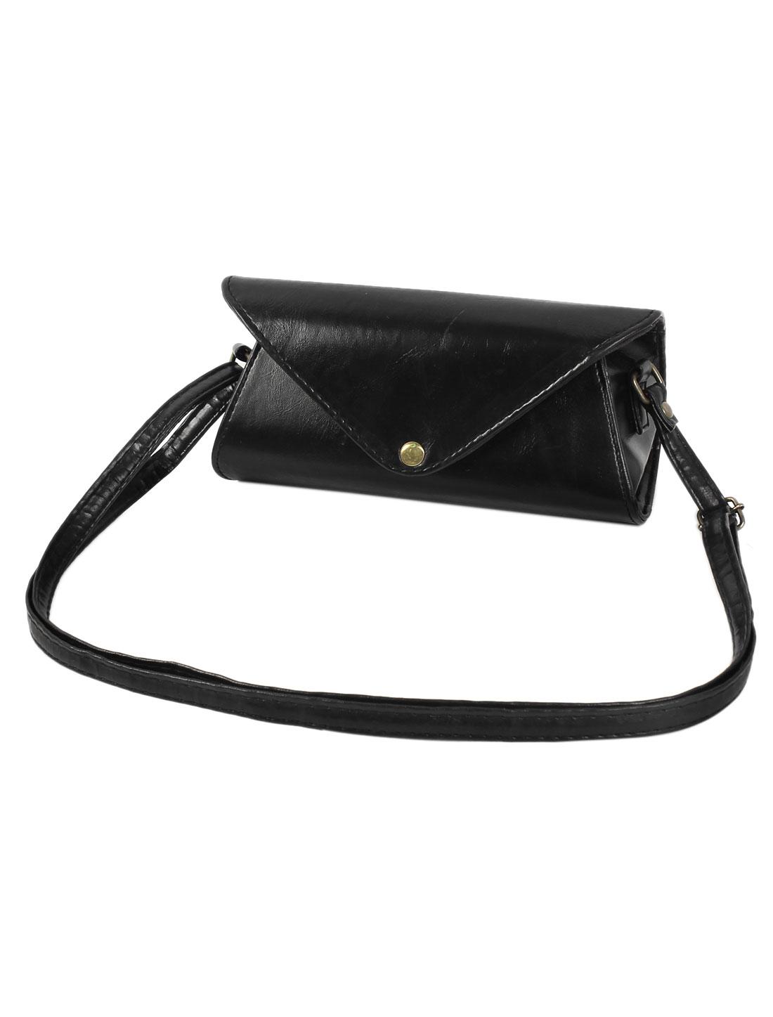 Fashion Elegant Unique Cover Mini Party PU Leather Shoulder Bag Coin Purse Black