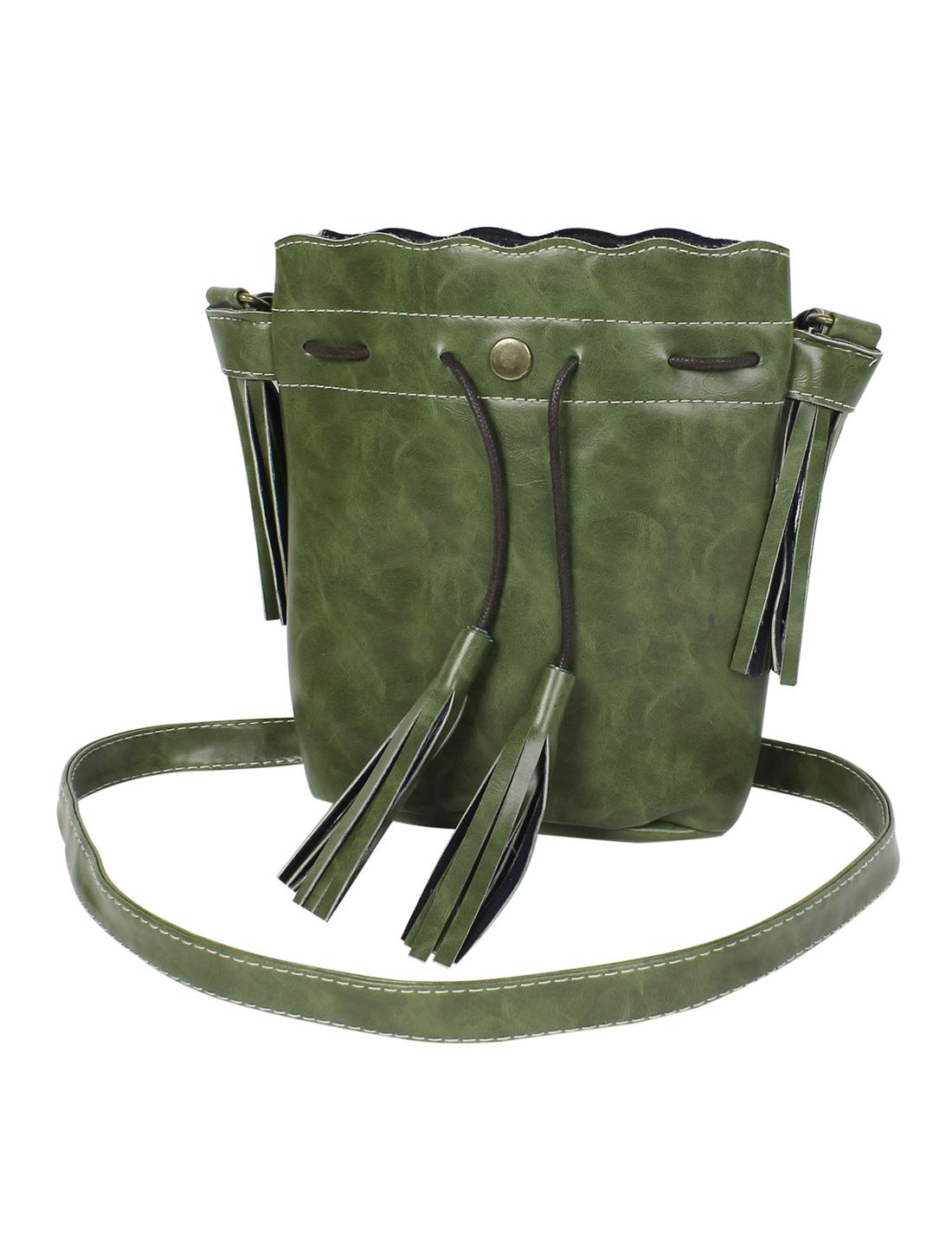 Women Tassel Handbag Shoulder Messenger Hobo Bag Purse Satchel Dark Green
