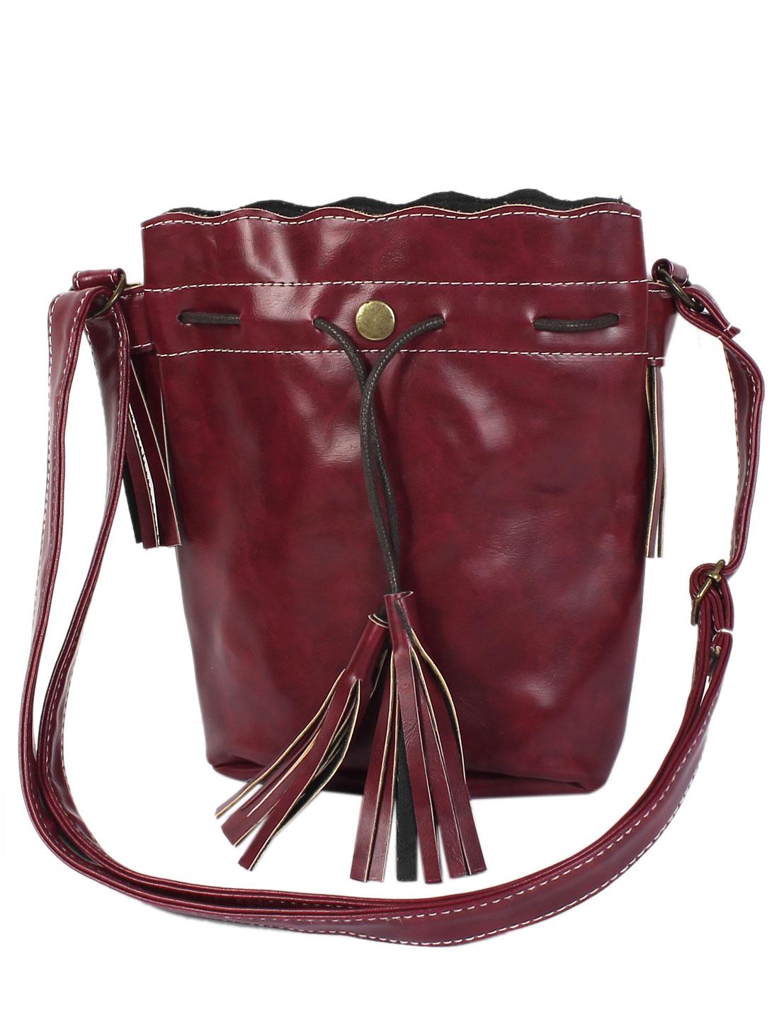 New Tassel Handbag Women Shoulder Messenger Hobo Bag Purse Satchel Burgundy
