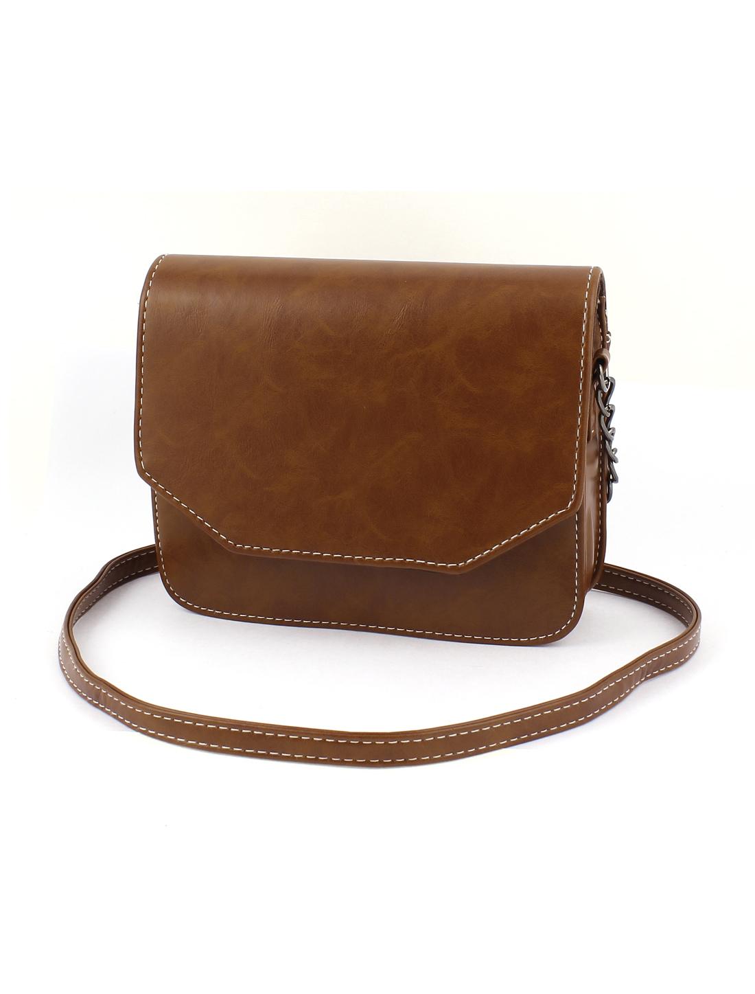 Women Vintage Style PU Leather Mini Shoulderbag Messenger Bag Satchel Brown