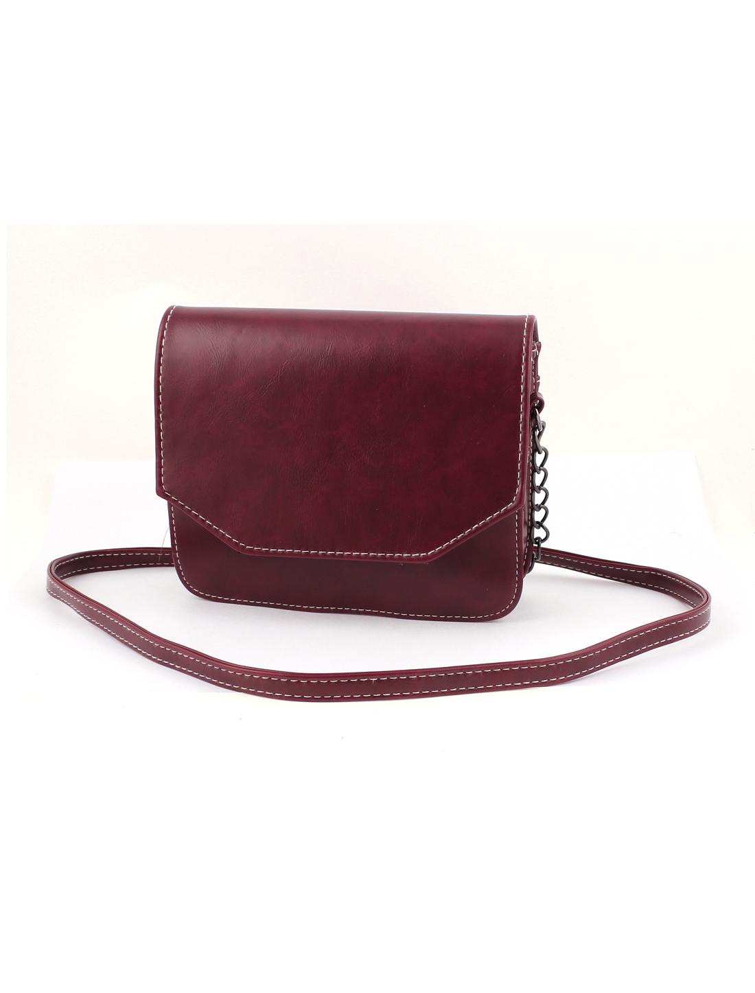 Women Vintage Style PU Leather Mini Shoulderbag Messenger Bag Satchel Burgundy