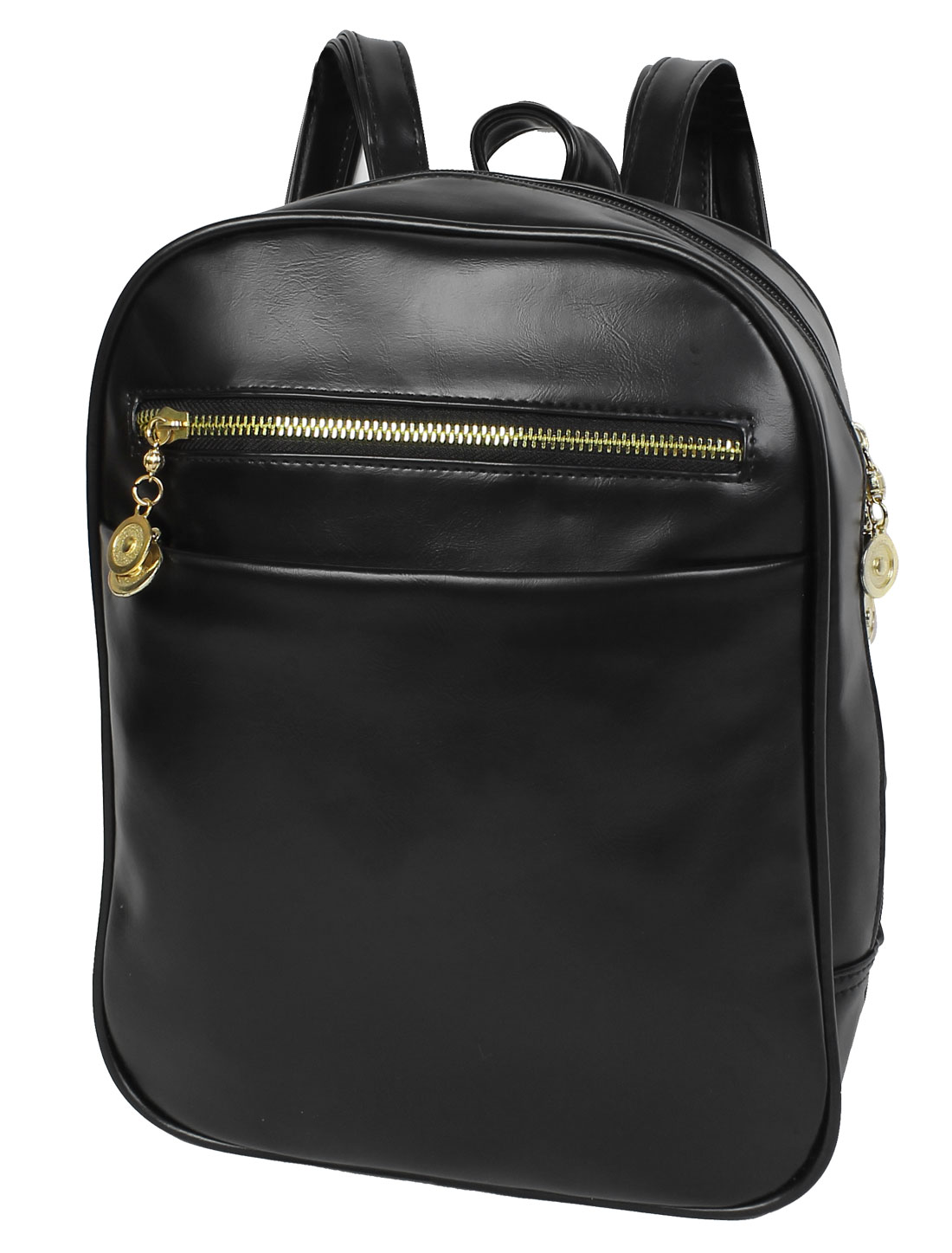Women Fashion Zipper Closure Faux Leather School Bookbag Tote Backpack Black
