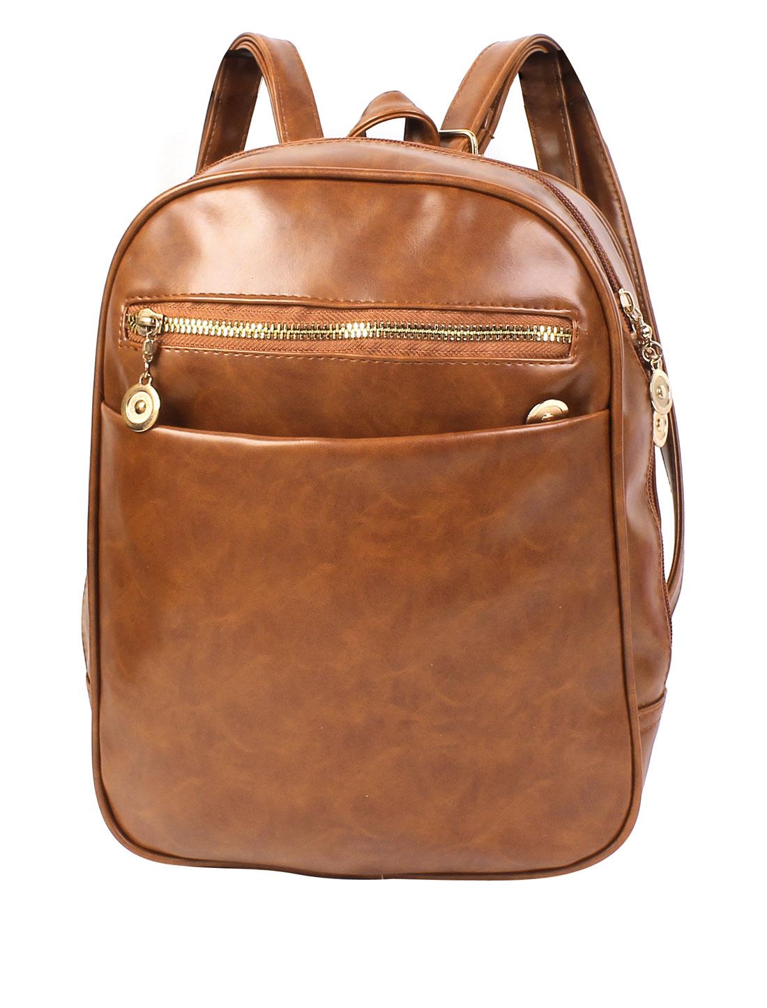 Women Zipper Closure Faux Leather School Bookbag Tote Backpack Brown