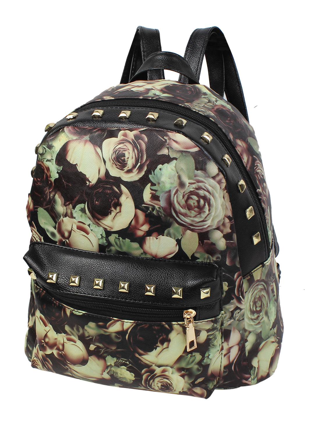 Preppy Style Flower Print Rivet Faux Leather Outdoor Backpack Satchel Bookbag